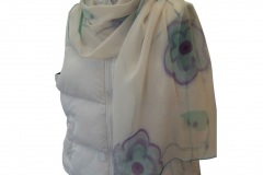 """Floral Turquoise Chiffon Scarf"""
